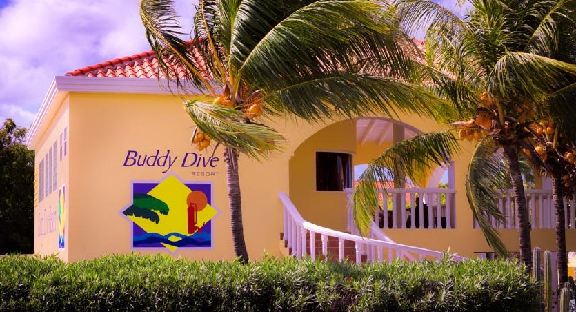 Buddy Dive Resort is located in front of a popular dive spot on Bonaire.