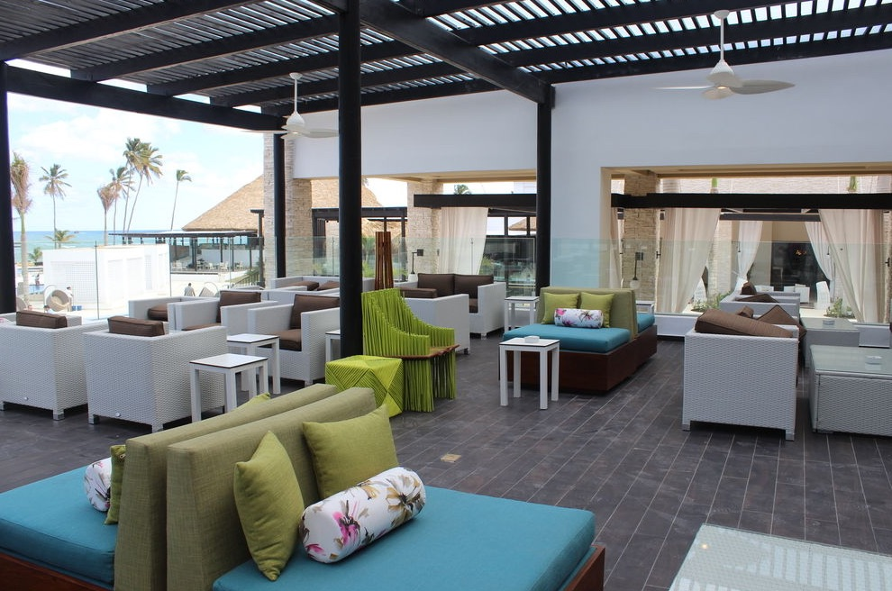 Colorful, modern outdoor lounge area