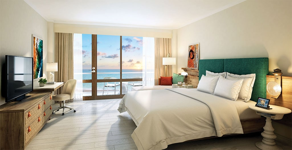A rendering of the Deluxe Ocean View room at Dreams Curacao