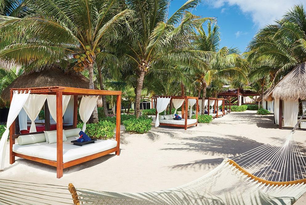 Bali beds on the beach at El Dorado Royale