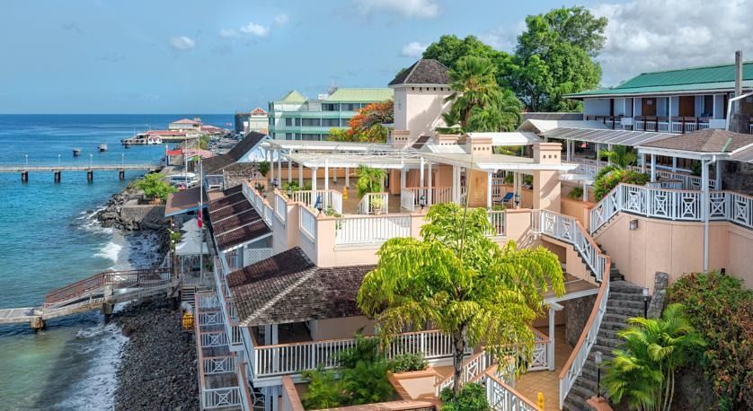 Fort Young Hotel overlooks the Caribbean on Dominica's southwest coast.