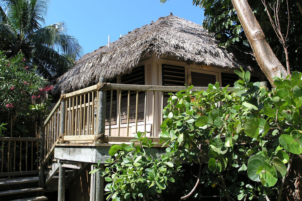 Guests make their way through the island's Jamaican palm trees to find their thatched-roof bungalow.
