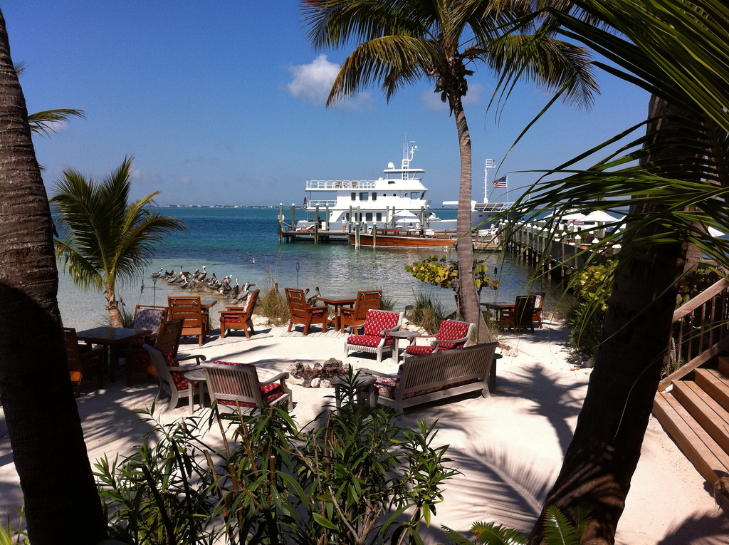 A complimentary motor yacht shuttles guests from Little Torch Key to the exclusive island.