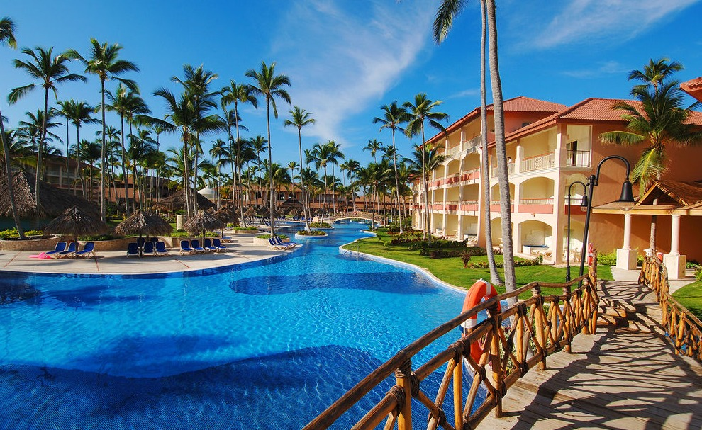 The lagoon pool winds around the suites at Majestic Elegance Punta Cana.
