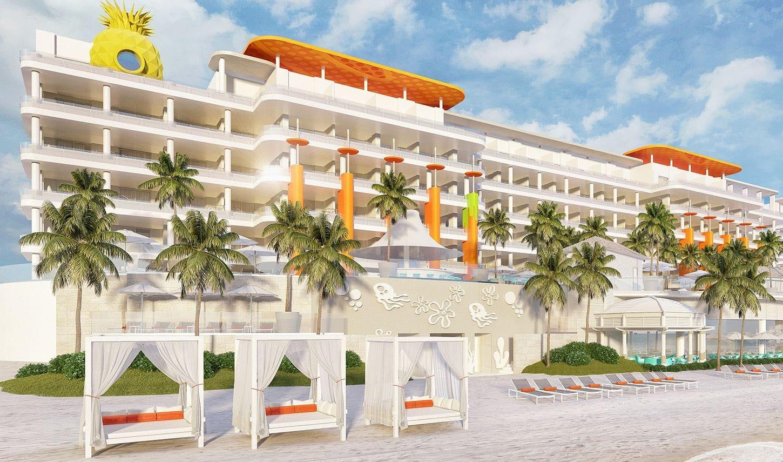 An artistic rendering of the new Nickelodeon Hotels & Resorts Riviera Maya