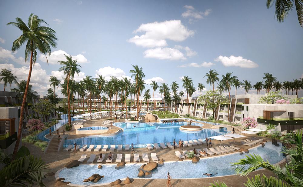 Aerial view of the resort's main pool.