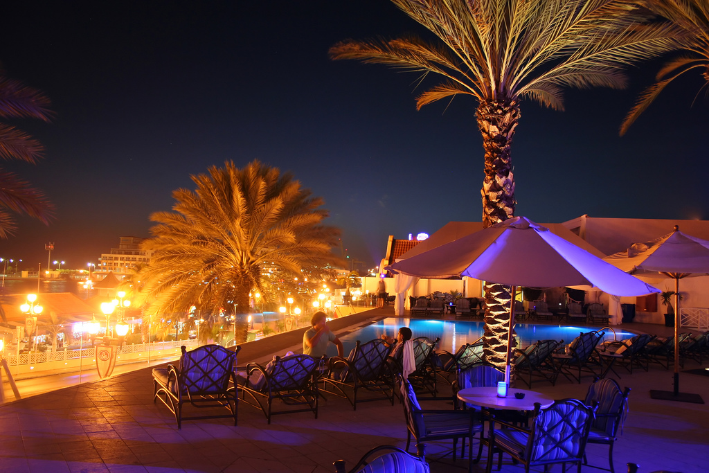 The Renaissance Aruba rooftop infinity pool.