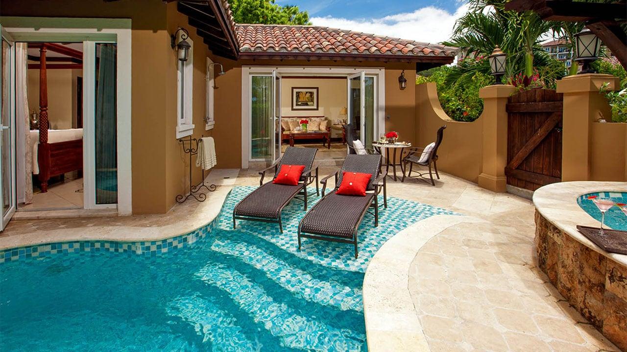 Private plunge pools at Sandals Grande Antigua