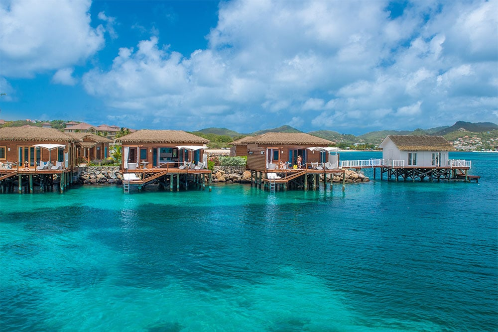 New overwater bungalows at Sandals Grande St. Lucian