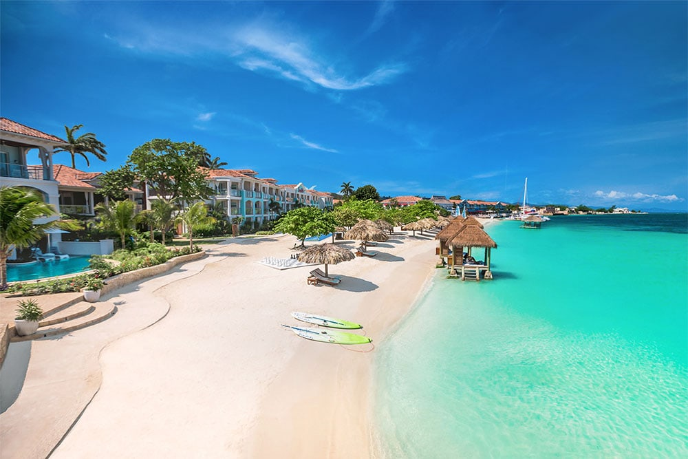 The beach at Sandals Montego Bay is ideal for water sports.