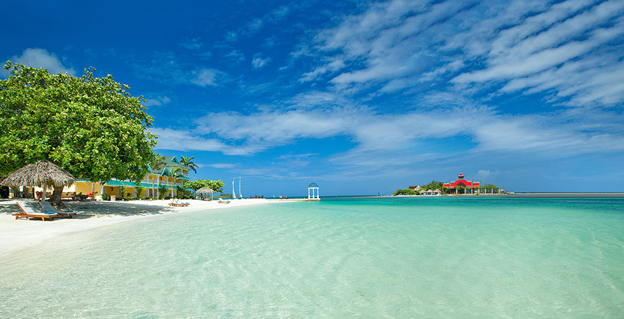 A view of Sandals Island from the beach.