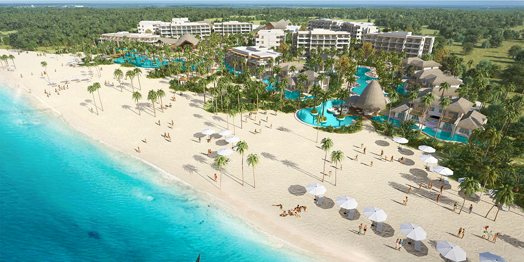 An aerial rendering of the new Secrets Cap Cana Resort & Spa