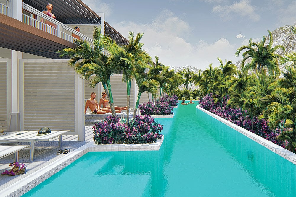 A rendering of the Preferred Club Marina Swim Out Suite at Secrets St. Martin