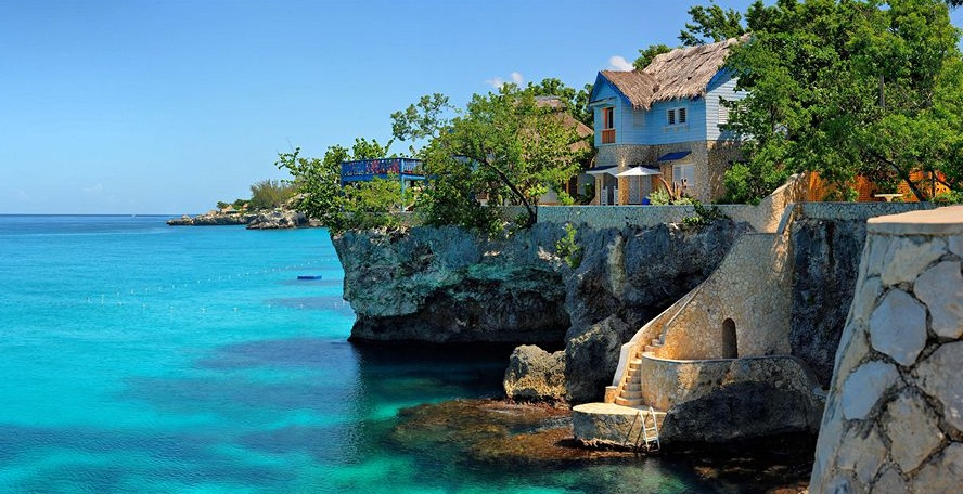 The Caves are located on a cliff in Negril, Jamaica