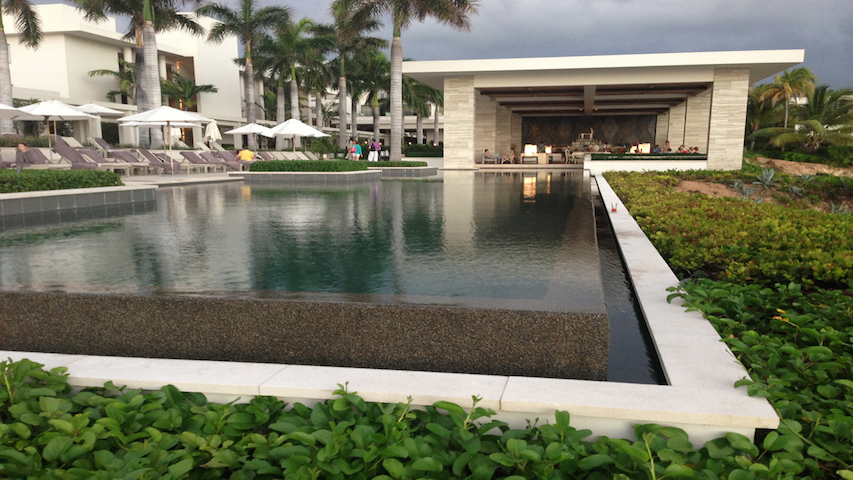 Reflecting pool and Sunset Lounge
